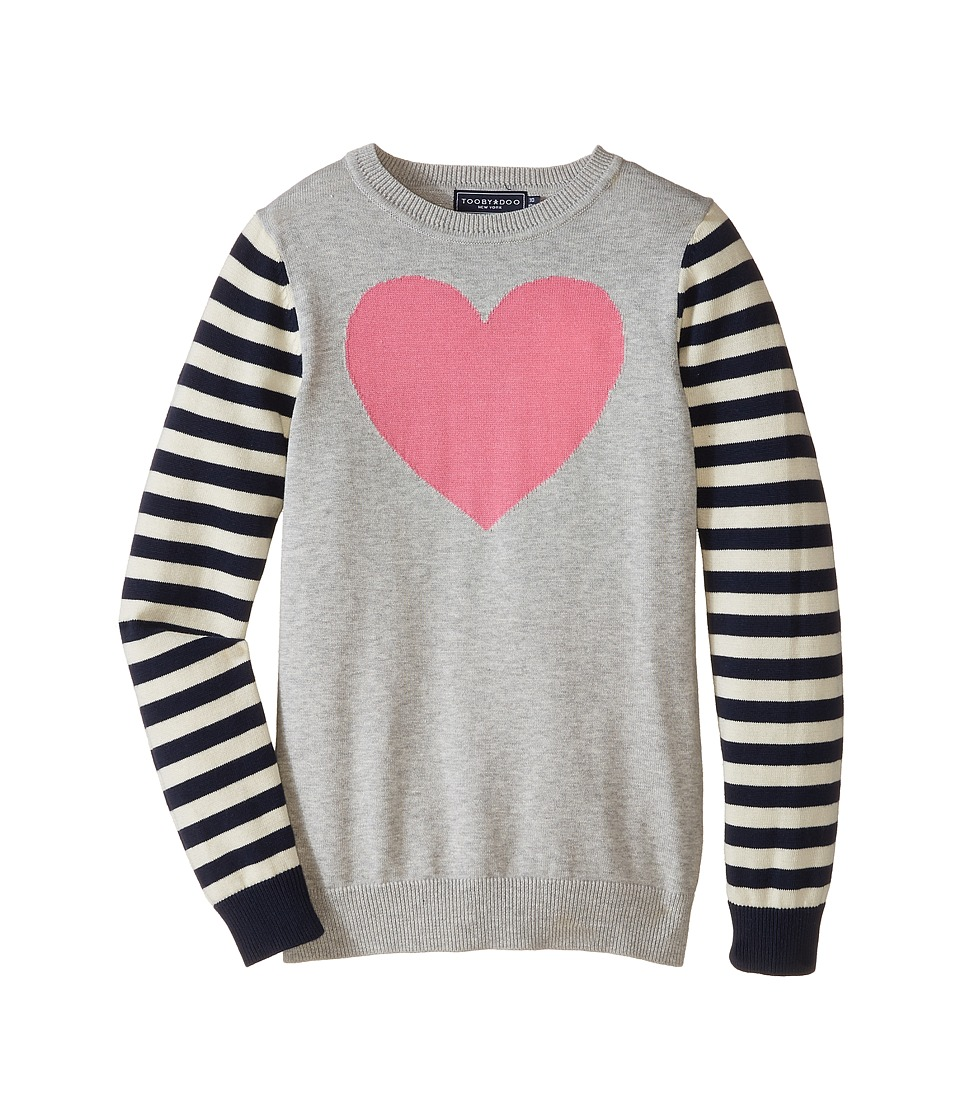 Toobydoo - Gisele Heart Sweater (Toddler/Little Kids/Big Kids) (Navy/Pink/Grey) Girl