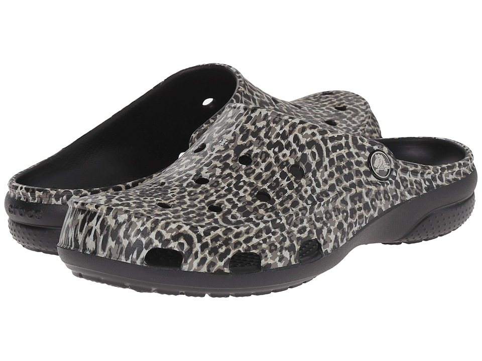Crocs - Freesail Leopard Print Clog (Black) Women's Clog Shoes