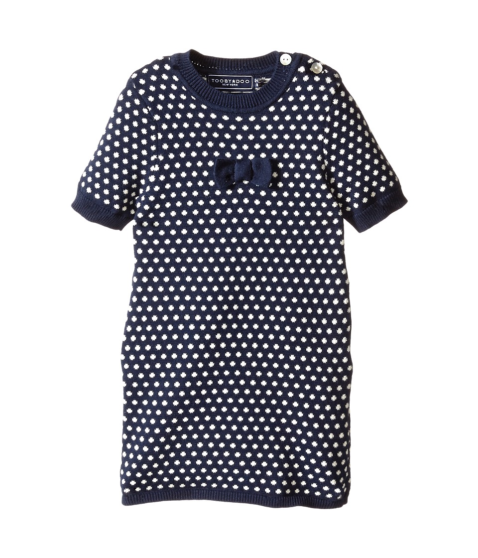Toobydoo - Mini Dots A Bow (Infant/Toddler/Little Kids) (Navy/White) Girl's Dress