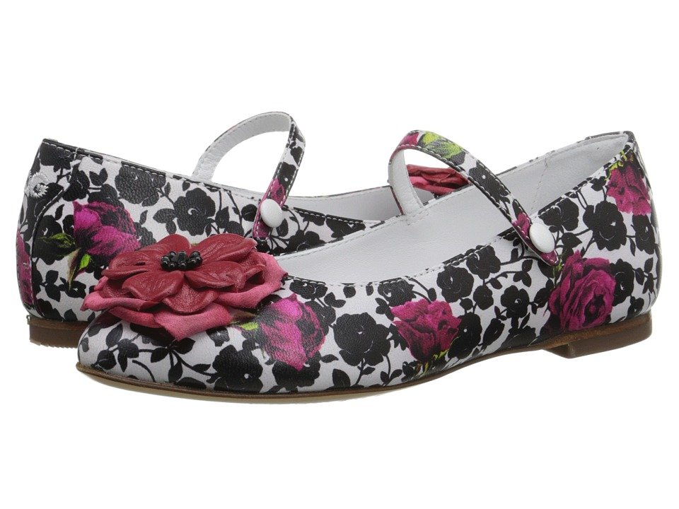 Dolce & Gabbana Kids - Floral Mary Jane (Little Kid) (Rose/White/Black) Girls Shoes