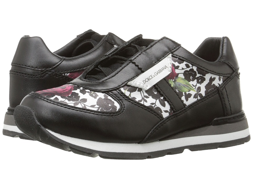 Dolce & Gabbana - Printed Sneaker (Little Kid) (Rose/White/Black) Women's Lace up casual Shoes