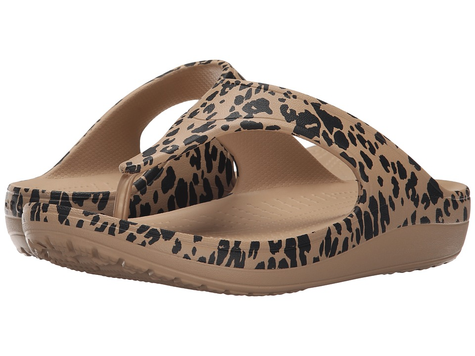 Crocs - Sloane Leopard Print Plarform (Gold) Women's Shoes
