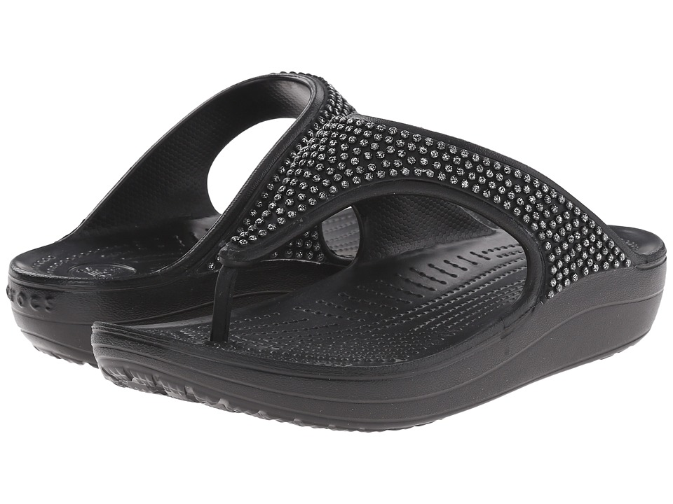 Crocs - Sloane Diamonte Platform (Black) Women's Toe Open Shoes