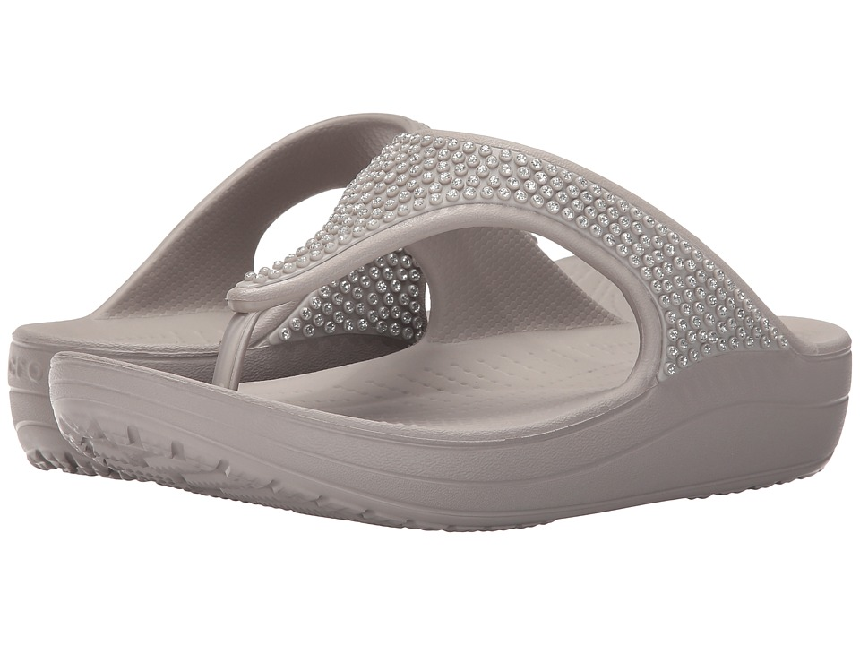 Crocs - Sloane Diamonte Platform (Platinum) Women's Toe Open Shoes
