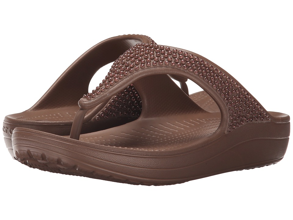 Crocs - Sloane Diamonte Platform (Bronze) Women's Toe Open Shoes