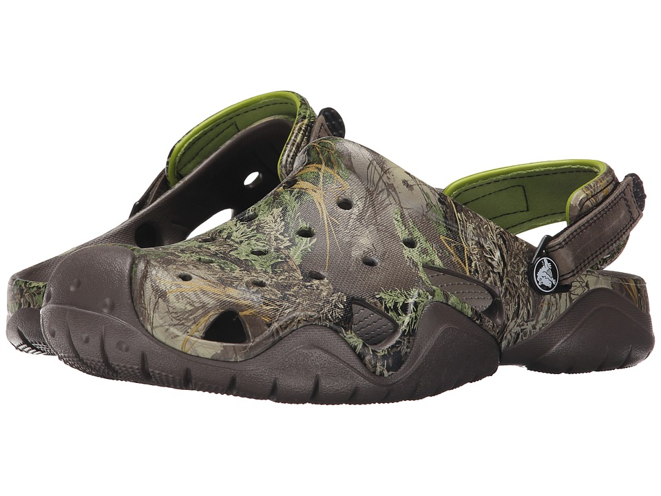 Crocs - Swiftwater Realtree Max-1 Clog (Pewter/Volt Green) Men's Clog Shoes