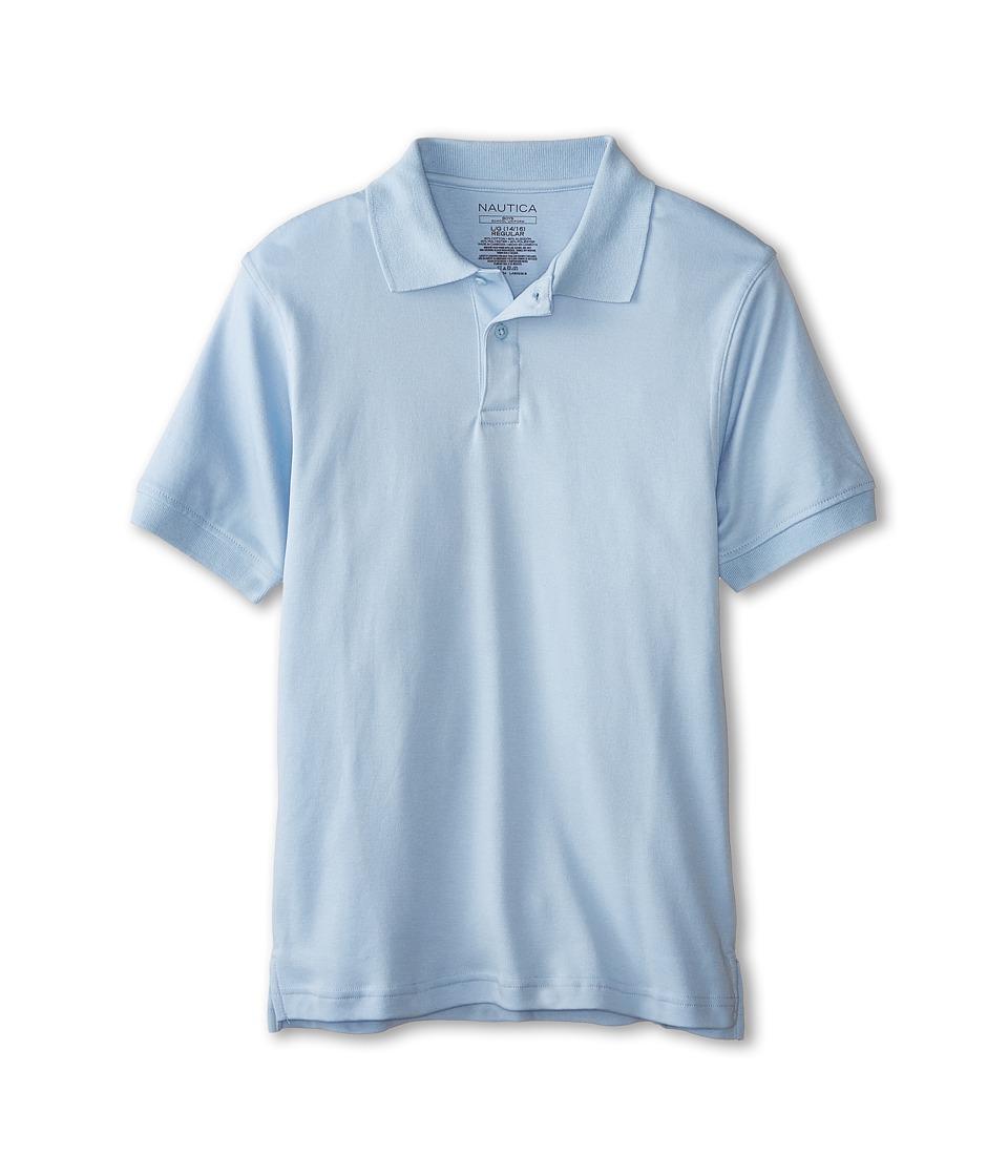 Nautica Kids - Short Sleeve Interlock Polo (Big Kids) (Light Blue) Boy's Short Sleeve Pullover