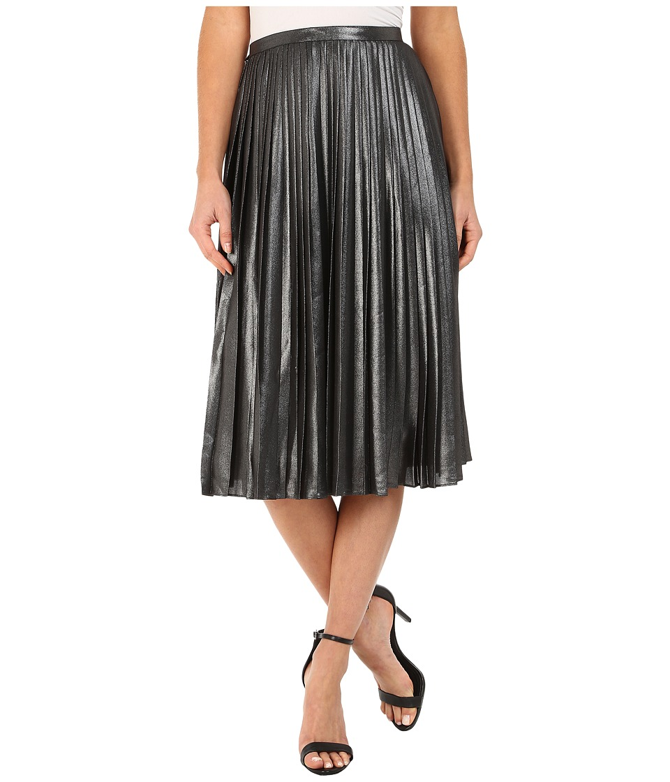 Ted Baker - Zainea Metallic Pleated Midi Skirt (Charcoal) Women's Skirt