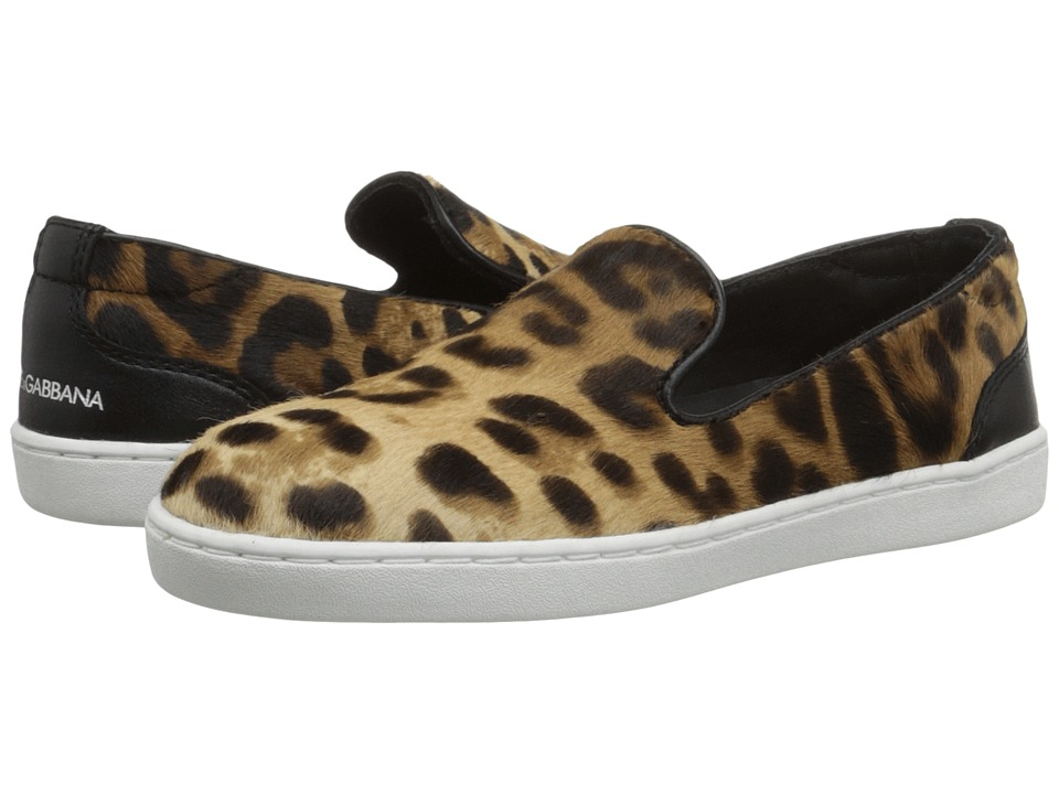 Dolce & Gabbana Kids - Leopard Slip-On Sneaker (Little Kid) (Beige/Nero) Boy's Shoes