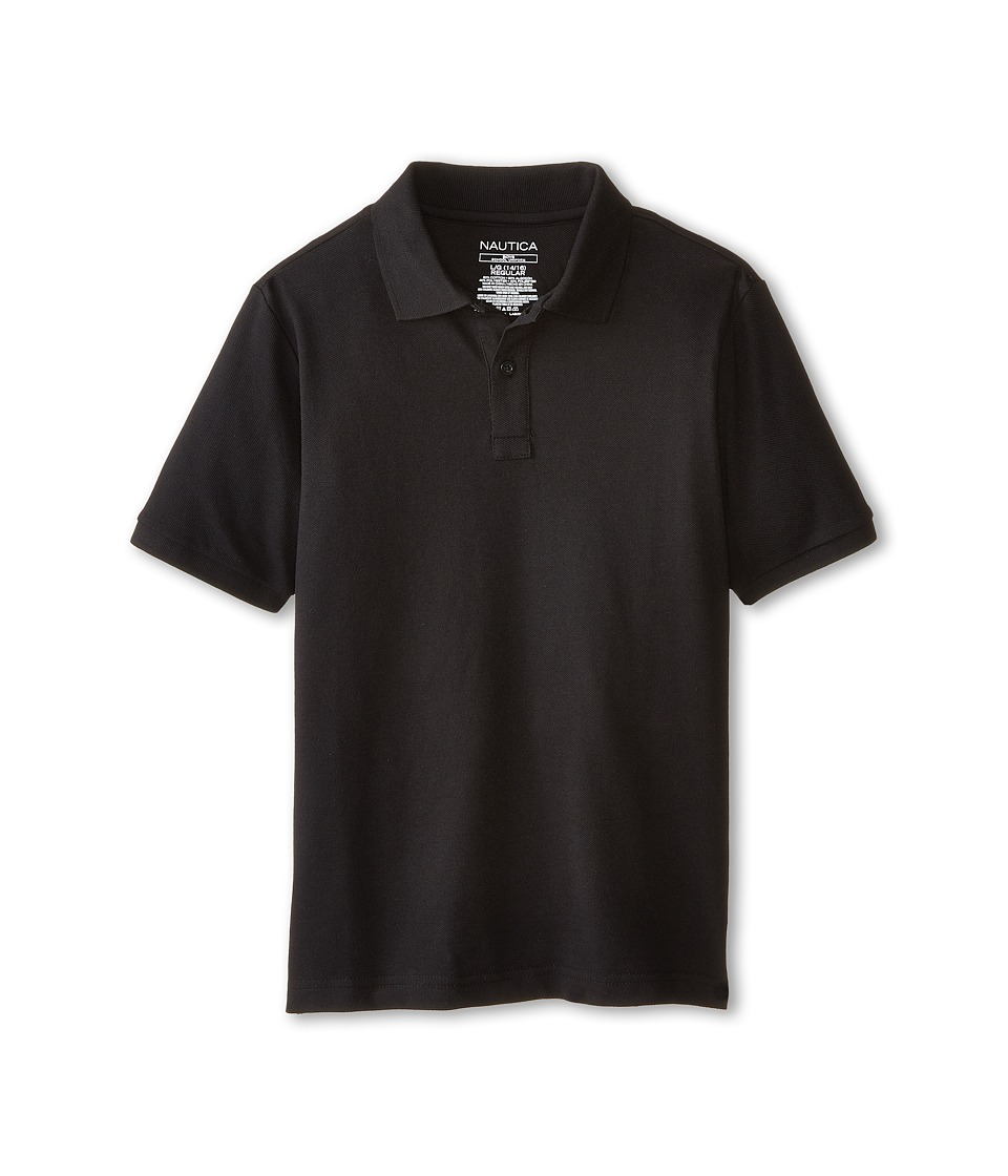 Nautica Kids - Short Sleeve Pique Polo (Big Kids) (Black) Boy's Short Sleeve Pullover