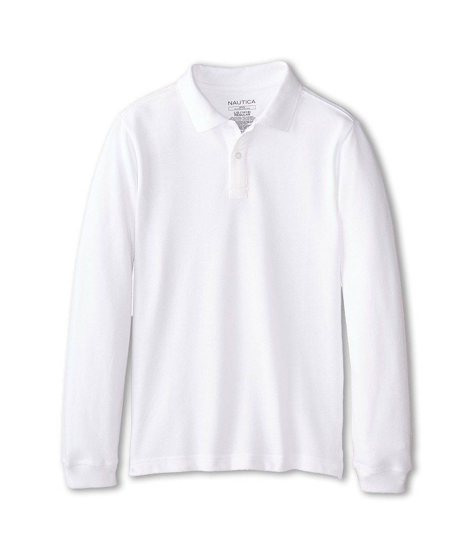 Nautica Kids - Long Sleeve Pique Polo (Big Kids) (White) Boy's Long Sleeve Pullover