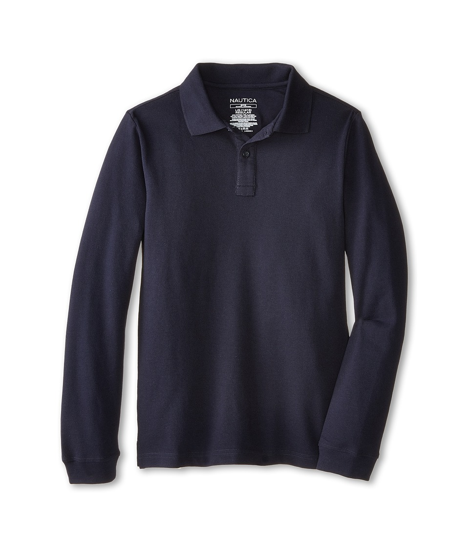 Nautica Kids - Long Sleeve Pique Polo (Big Kids) (Navy) Boy's Long Sleeve Pullover