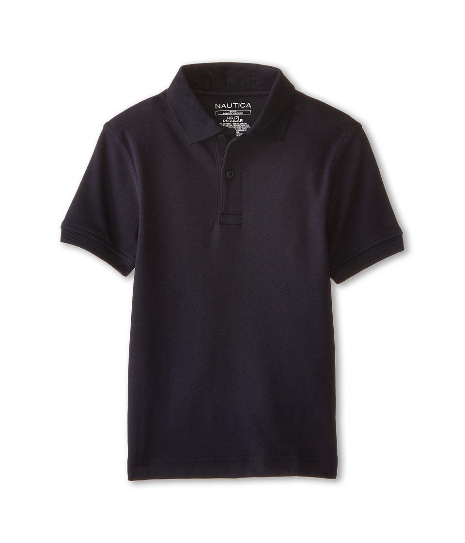 Nautica Kids - Short Sleeve Interlock Polo (Little Kids) (Navy) Boy's Short Sleeve Pullover