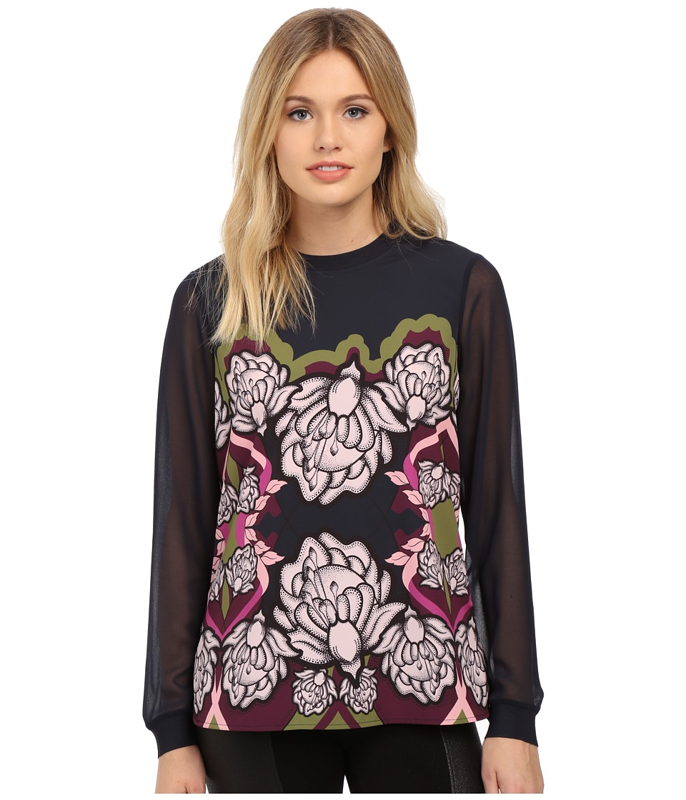 Ted Baker - Naylia Surreal Tapestry Long Sleeve Top (Dark Blue) Women's Long Sleeve Pullover