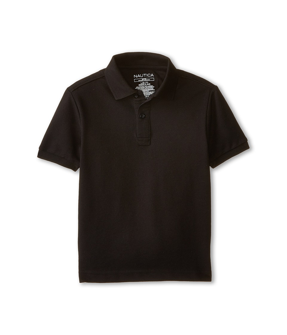 Nautica Kids - Short Sleeve Pique Polo (Little Kids) (Black) Boy's Short Sleeve Pullover