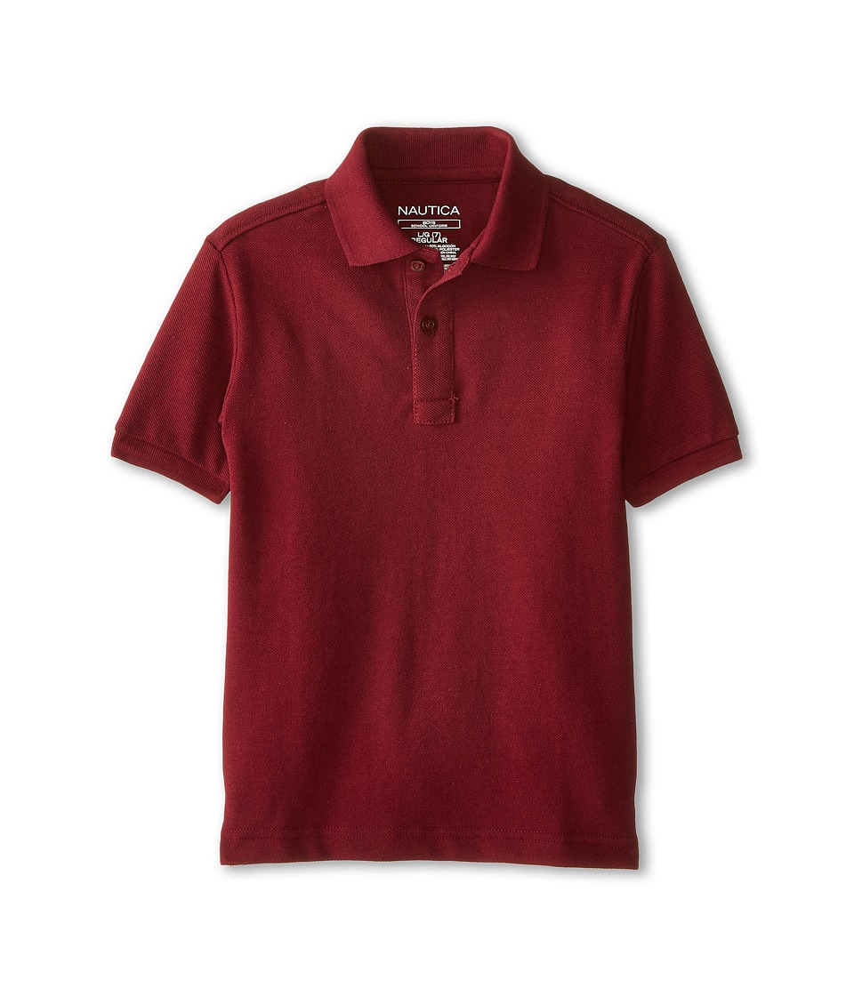 Nautica Kids - Short Sleeve Pique Polo (Little Kids) (Burgundy) Boy's Short Sleeve Pullover