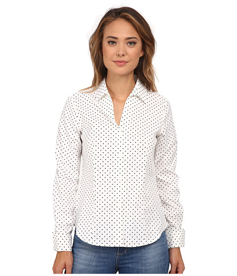 Jones New York - Long Sleeve Button Up Shirt (White/Black) Women's Long Sleeve Button Up