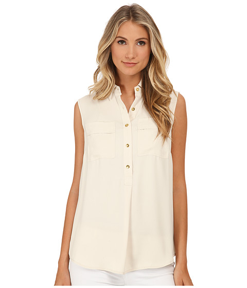 Jones New York - Pop Over w/ Knit Back (Sand) Women's Clothing