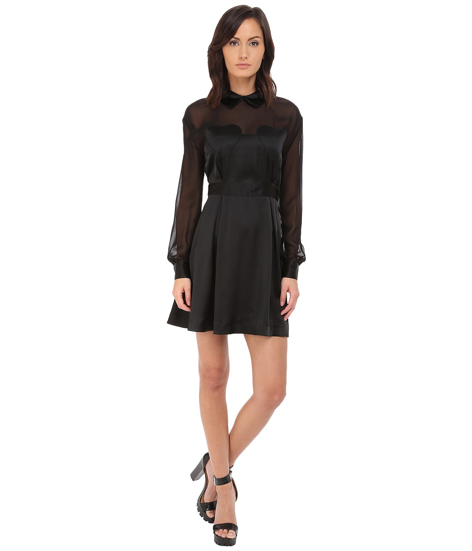 LOVE Moschino Sheer Paneled Long Sleeve Dress w/ Heart Chest Detail (Black) Women