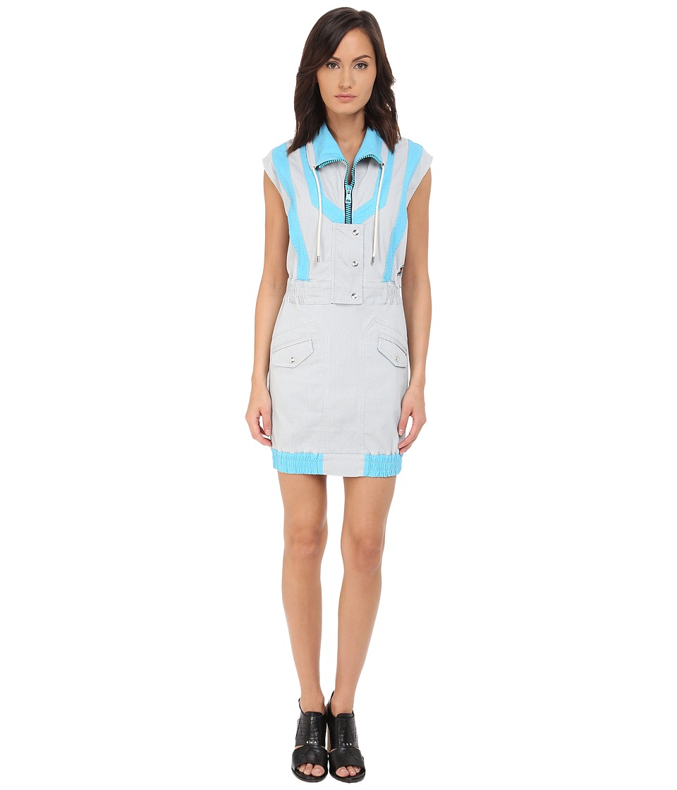 LOVE Moschino Sporty High Neck Sleeveless Dress (Grey/Blue) Women