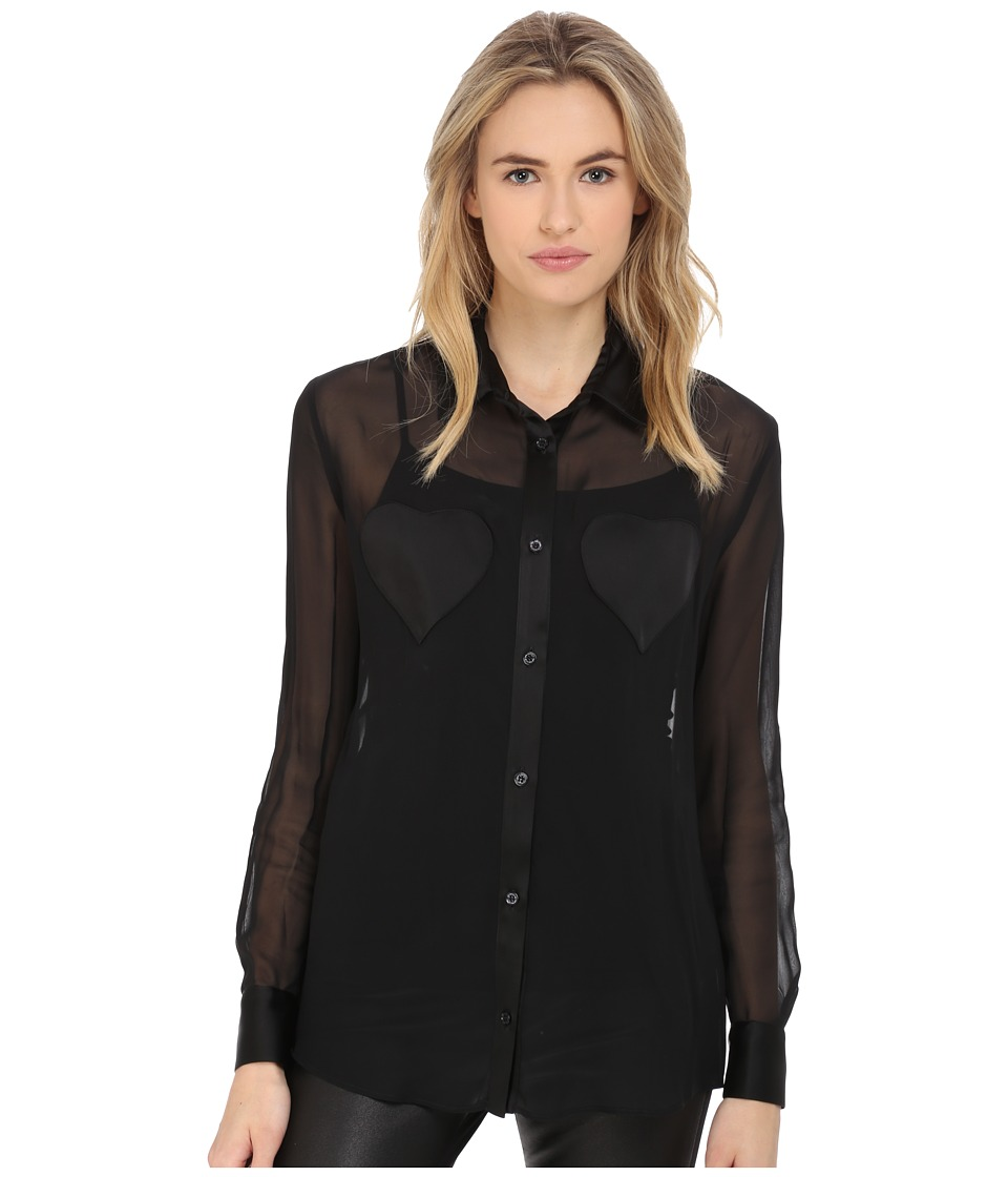 LOVE Moschino - Sheer Long Sleeve Blouse w/ Heart Chest Detail (Black) Women's Blouse