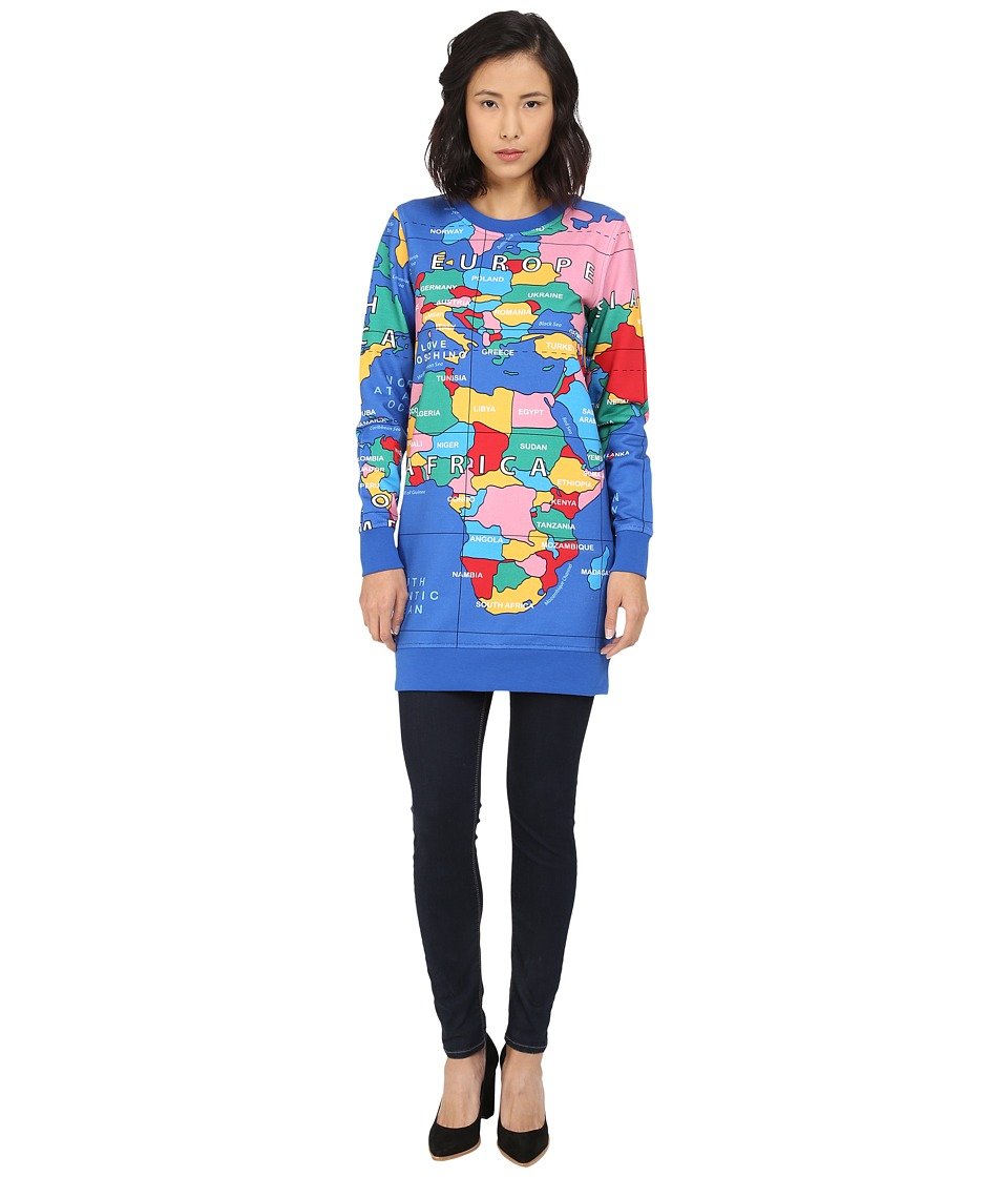 LOVE Moschino - Globe Print Long Sleeve Sweatshirt Dress (Multi) Women's Dress