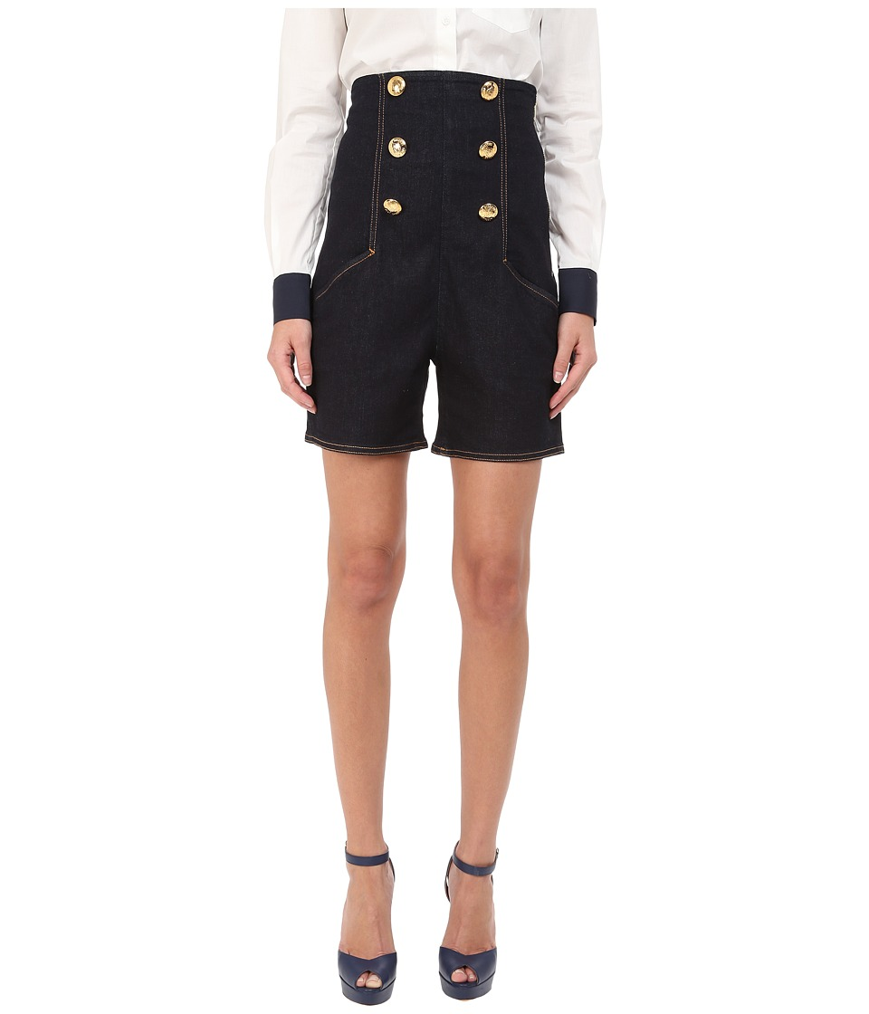 LOVE Moschino - High Waist Denim Sailor Shorts in Dark Wash (Dark Wash) Women's Shorts