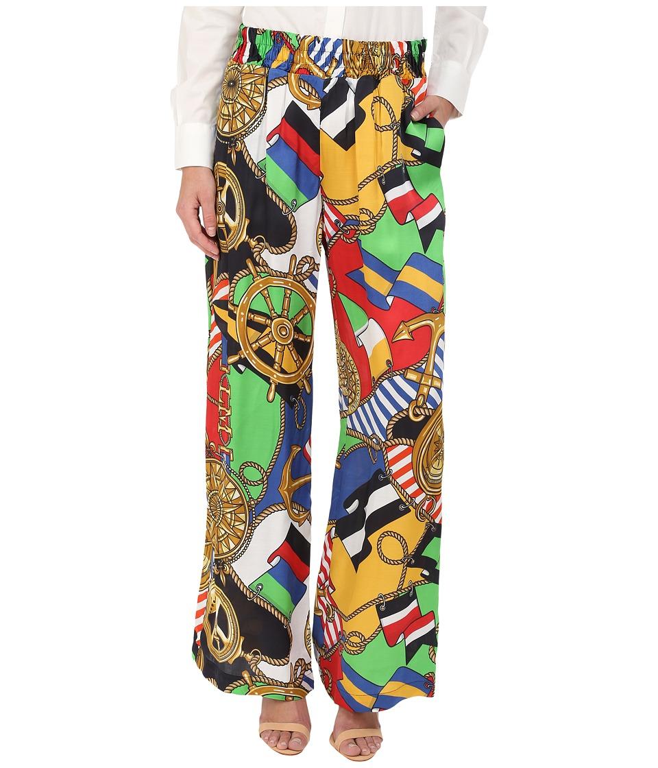 LOVE Moschino - Sailor Print Silk Gaucho Pants (Multi) Women's Casual Pants