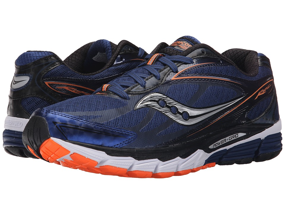 Saucony - Ride 8 (Midnight/Black/Orange) Men's Running Shoes