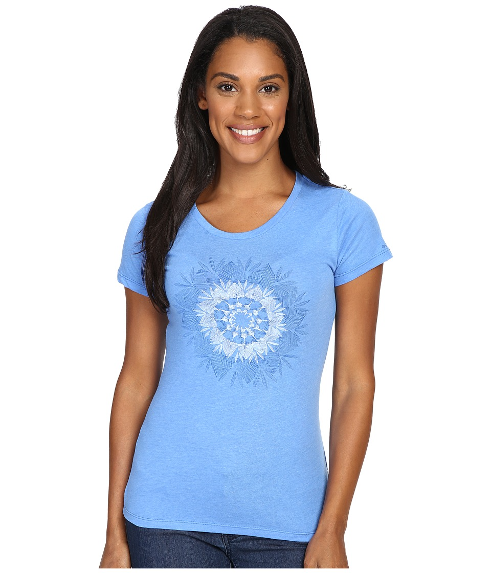 Columbia - Feather Medallion Short Sleeve Tee (Harbor Blue Heather) Women's T Shirt