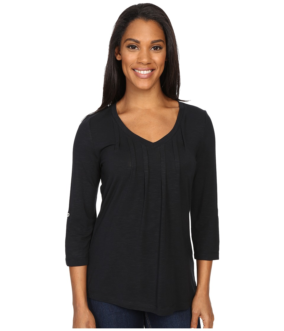 Royal Robbins - Noe 3/4 Sleeve Vee Tee (Jet Black) Women's Long Sleeve Pullover