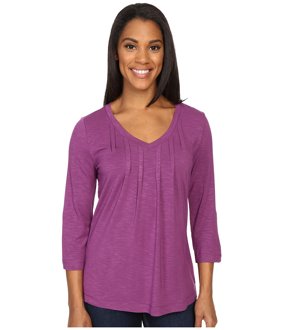 Royal Robbins - Noe 3/4 Sleeve Vee Tee (Pansy Purple) Women
