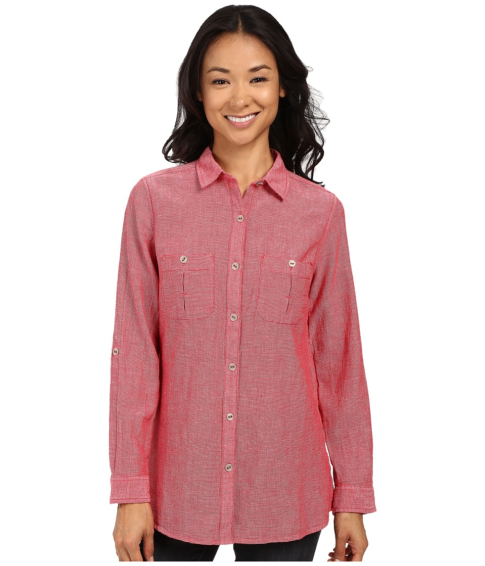 Royal Robbins - Cool Mesh Long Sleeve Top (Dahlia Red) Women's Long Sleeve Button Up