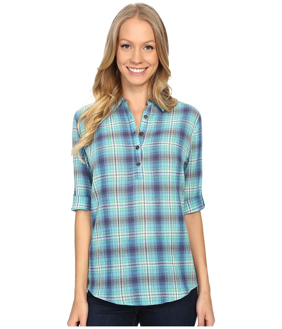 Royal Robbins - Oasis Plaid Pullover Top (Spearmint) Women's Long Sleeve Pullover