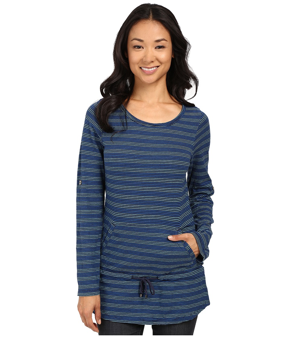 Royal Robbins - Breeze Thru Stripe Cover Top (Deep Blue) Women's Long Sleeve Pullover