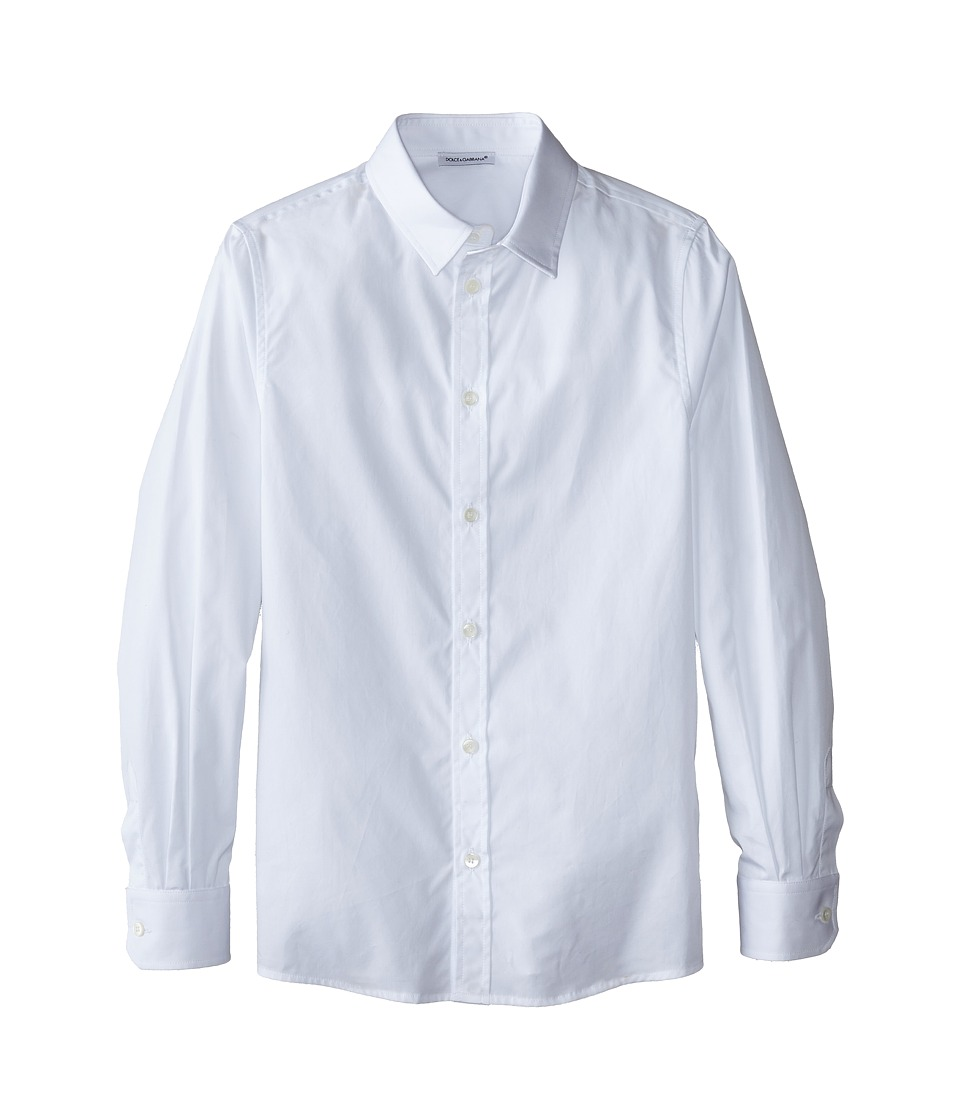 Dolce & Gabbana Kids - Poplin Cotton Button Up (Big Kids) (White) Boy's Long Sleeve Button Up