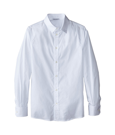 Dolce & Gabbana - Poplin Cotton Button Up (Big Kids) (White) Men's Long Sleeve Button Up