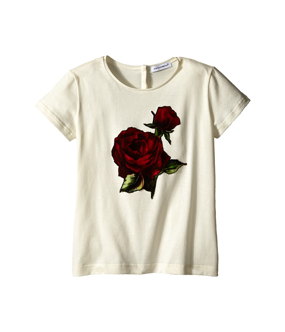 Dolce & Gabbana Kids - Jersey T-Shirt w/ Applique Rose (Toddler/Little Kids) (White) Girl's T Shirt