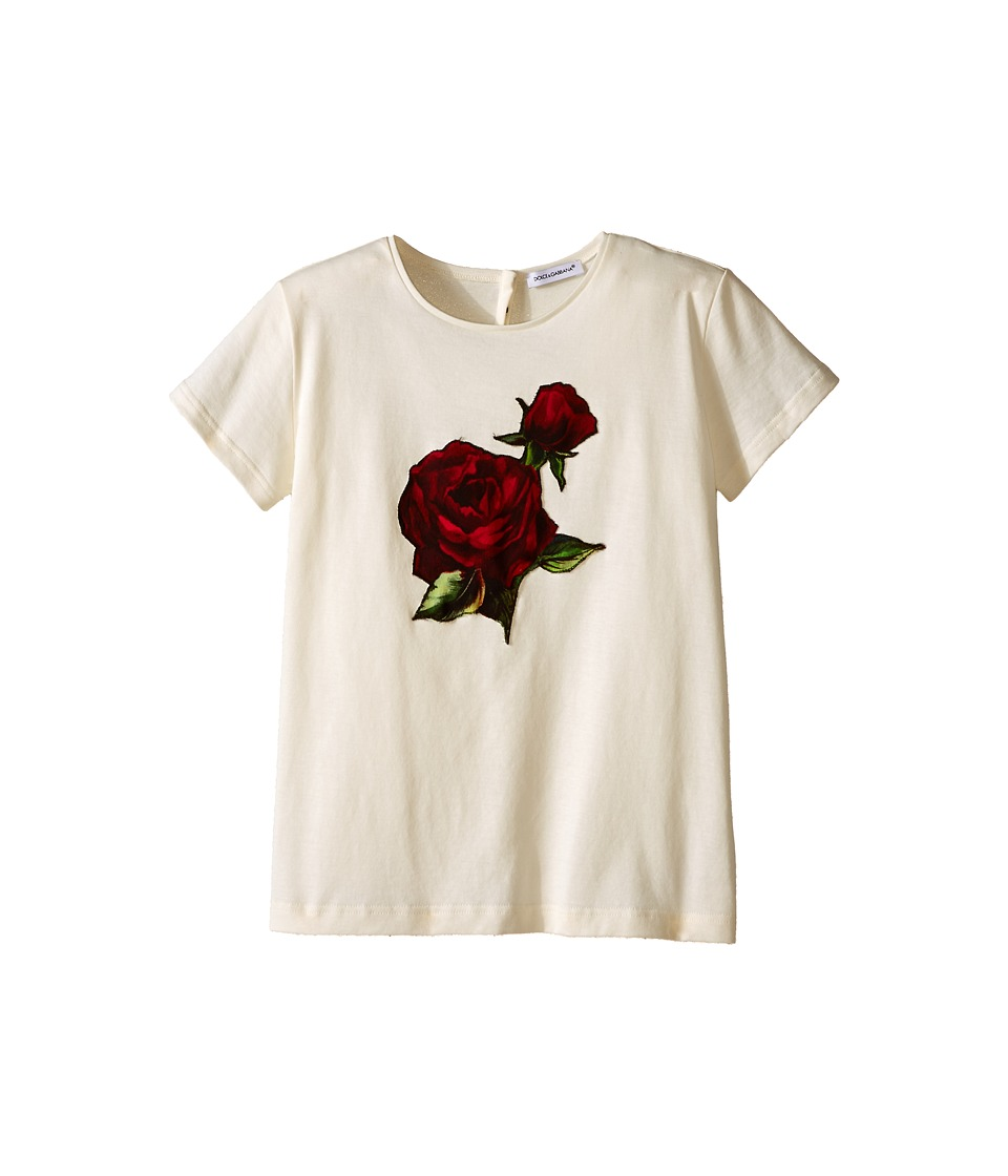 Dolce & Gabbana Kids - Jersey T-Shirt w/ Applique Rose (Big Kids) (White) Girl's T Shirt