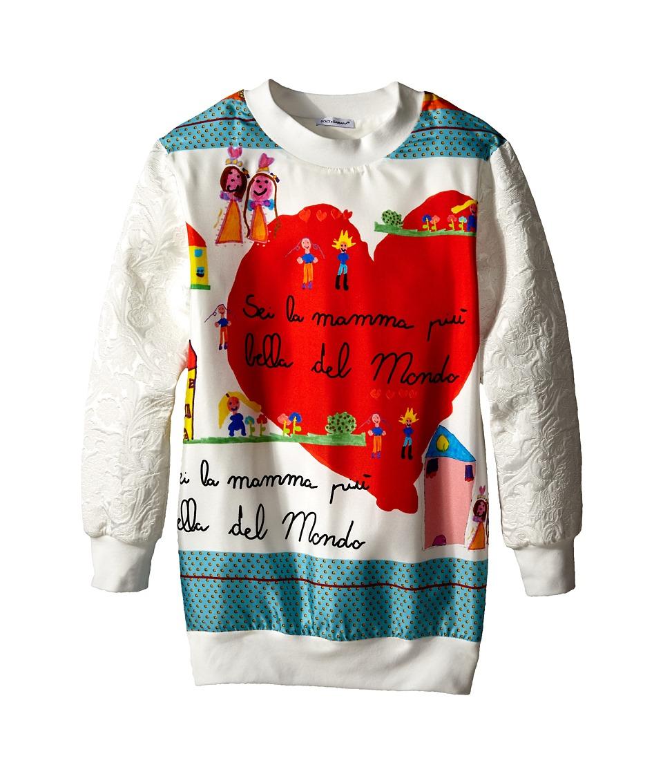 Dolce & Gabbana - Brocade Sweatshirt (Big Kids) (White) Women