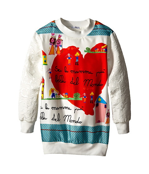 Dolce & Gabbana - Brocade Sweatshirt (Big Kids) (White) Women