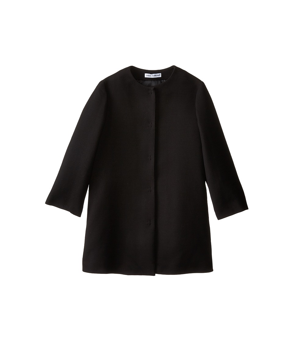 Dolce & Gabbana - Double Crepe Coat (Big Kids) (Black) Women