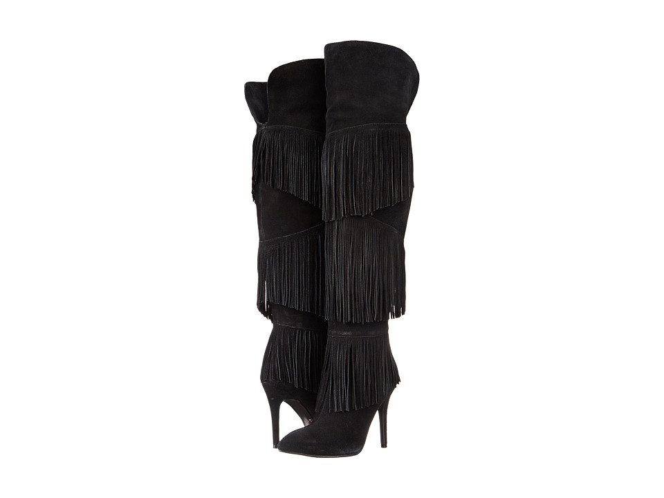Kristin Cavallari - Chance Over the Knee Fringe Boot (Black) Women's Boots