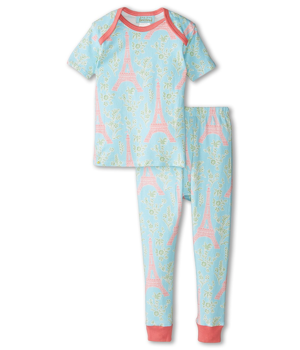 BedHead Kids - Short Sleeve Tee Pant Set (Infant) (Light Blue Eiffel Tower) Girl's Pajama Sets
