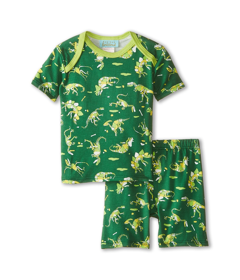 BedHead Kids - Short Sleeve Two-Piece Shorts Set (Infant) (Neon Dinosaur) Boy