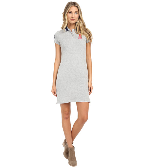 U.S. POLO ASSN. - Solid Polo Dress (Grey/Pink) Women's Dress