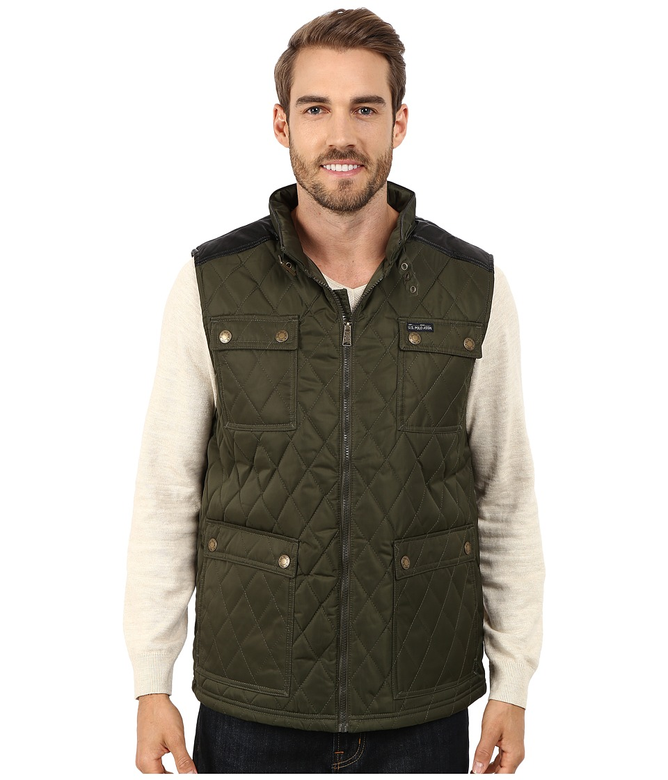 U.S. POLO ASSN. - Quilted Vest with PU Yoke (Forest Night) Men's Vest