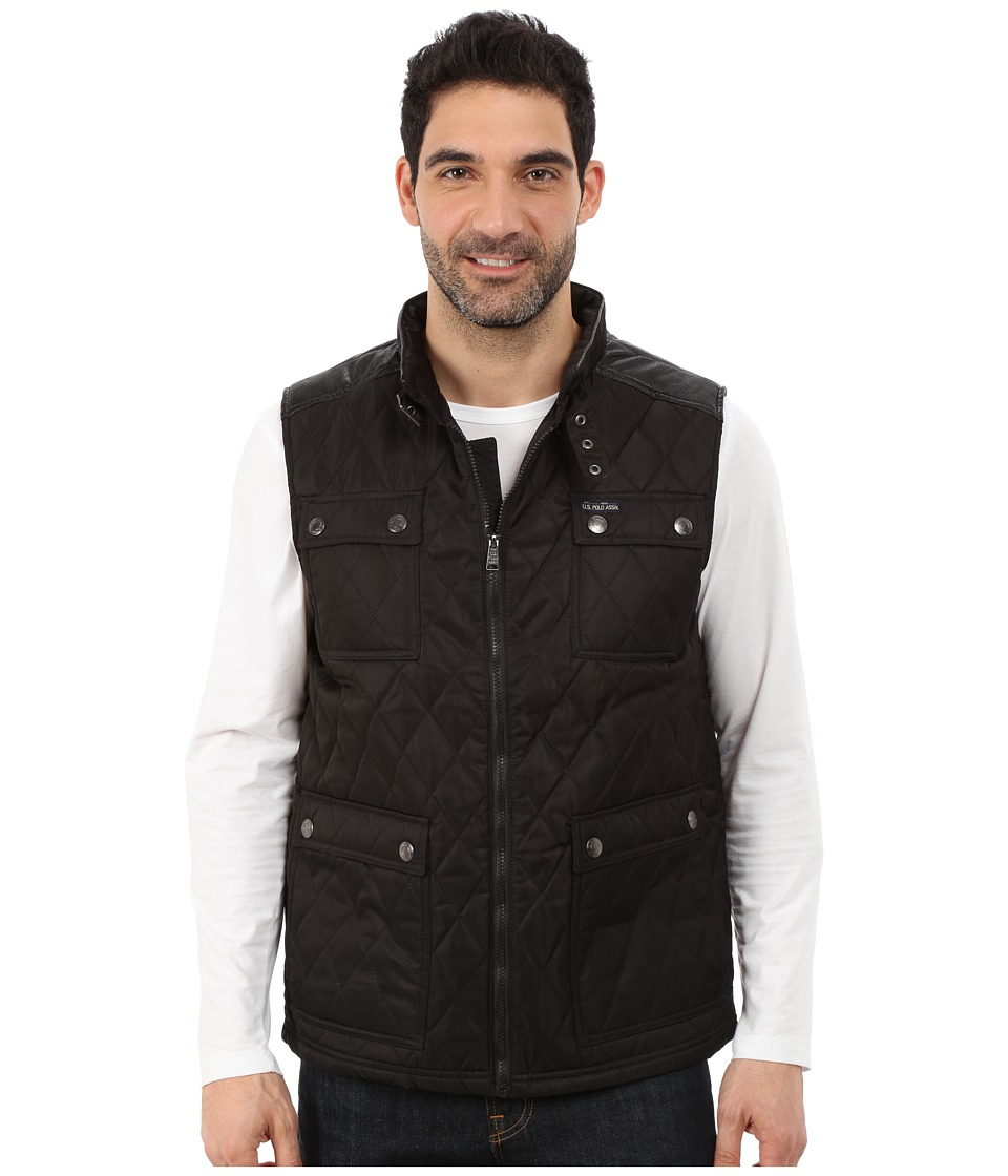 U.S. POLO ASSN. - Quilted Vest with PU Yoke (Black) Men's Vest