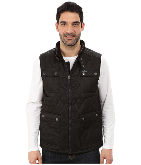 U.S. POLO ASSN. - Quilted Vest with PU Yoke (Black) Men
