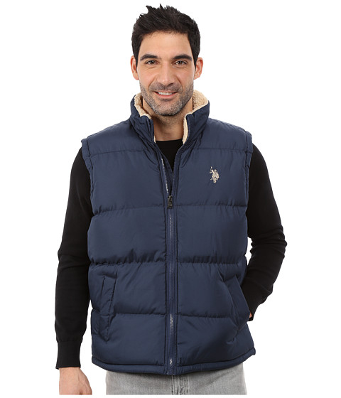 U.S. POLO ASSN. - Signature Vest with Inner Sherpa Collar (Classic Navy) Men
